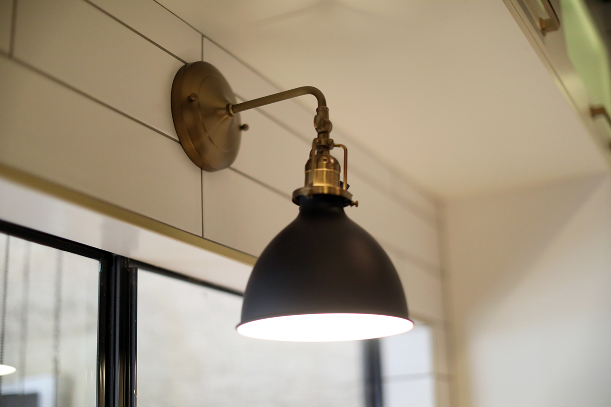 Black and gold kitchen remodel light