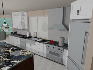Computer rendering kitchen remodel