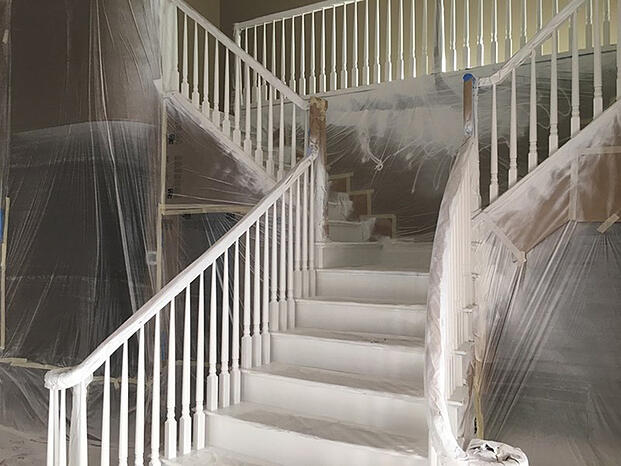 Painting stairway components