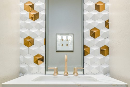 DesignBuild Remodel Contractor Gold and White Tile