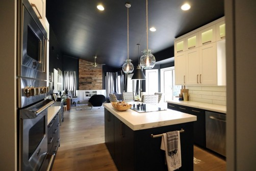 Black painted walls in kitchen remodel